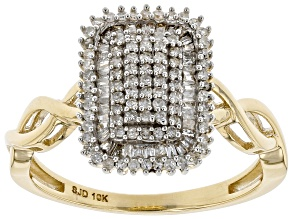 White Diamond 10K Yellow Gold Ring 0.45ctw