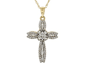 White Diamond 10K Yellow Gold Cross Pendant 0.40ctw