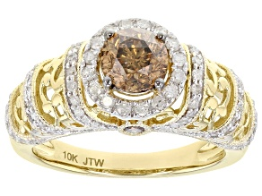 Champagne And White Diamond 10K Yellow Gold Center Design Ring 1.50ctw