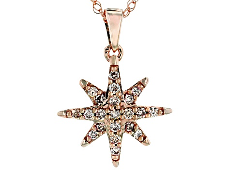 Champagne Diamonds 10K Rose Gold Star Cluster Pendant With 18