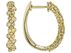 Natural Yellow Diamond 10K Yellow Gold Hoop Earrings 0.50ctw