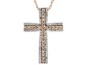 Champagne & White Diamond 10K Rose Gold Cross Pendant 0.45ctw