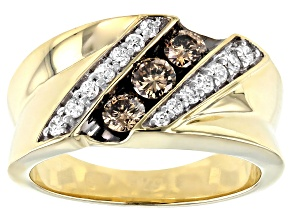 Champagne And White Diamond 10k Yellow Gold Gents Ring 0.75ctw