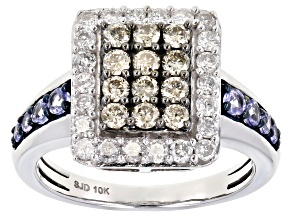 Champagne And White Diamond With Round Blue Tanzanite 10k White Gold Cluster Ring 1.32ctw