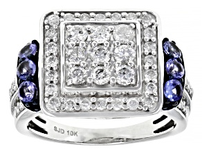 White Diamond And Blue Tanzanite 10k White Gold Cluster Ring 1.35ctw