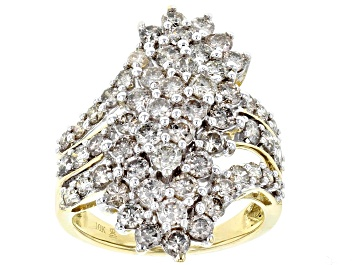 Picture of Diamond 10k Yellow Gold Cluster Ring 3.00ctw