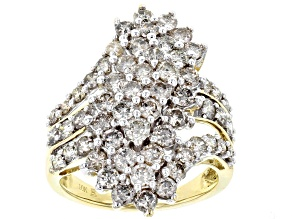 Diamond 10k Yellow Gold Cluster Ring 3.00ctw