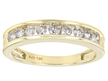 Picture of White Diamond 10k Yellow Gold Band Ring 0.50ctw