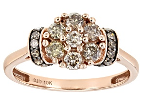 Champagne Diamond 10k Rose Gold Cluster Ring 0.60ctw
