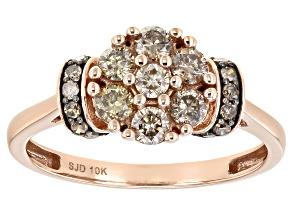 Champagne Diamond 10k Rose Gold Cluster Ring 0.60ctw