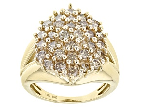 Champagne Diamond 10k Yellow Gold Cocktail Ring 1.80ctw