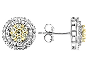 Natural Yellow And White Diamond 10k White Gold Cluster Stud Earrings 0.70ctw