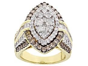 White And Champagne Diamond 10k Yellow Gold Cocktail Ring 2.90ctw
