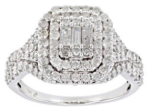 White Diamond 10k White Gold Cluster Ring 1.25ctw