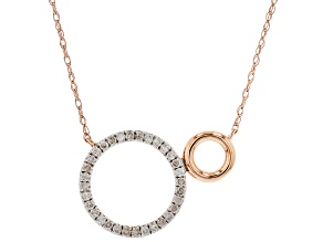 White Diamond 10K Rose Gold Circle Necklace 0.16ctw