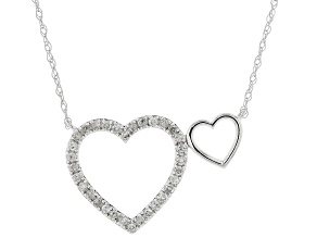 White Diamond 10K White Gold Heart Necklace 0.16ctw