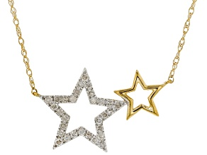White Diamond 10K Yellow Gold Star Necklace 0.16ctw