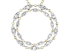 White Diamond 10K Yellow Gold Circle Necklace 0.50ctw