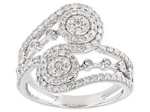 White Diamond 14K White Gold Open Design Ring 0.90ctw