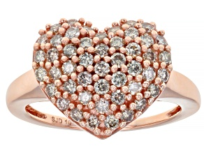 Champagne Diamond 10K Rose Gold Heart Cluster Ring 0.95ctw