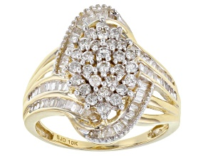 White Diamond 10K Yellow Gold Cocktail Ring 1.00ctw