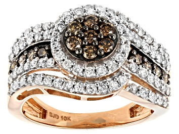 Picture of Champagne & White Diamond 10K Rose Gold Cluster Ring 1.20ctw
