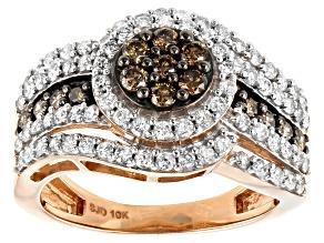 Champagne & White Diamond 10K Rose Gold Cluster Ring 1.20ctw