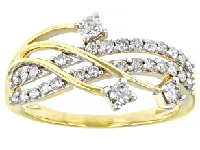 White Diamond 10k Yellow Gold Open Design Ring 0.50ctw