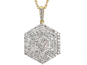 "White Diamond 10k Yellow Gold Hexagon Cluster Pendant With 18"" Rope Chain 0.75ctw"