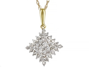 Diamond 10k Yellow Gold Cluster Pendant With 18