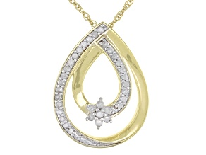"White Diamond 10k Yellow Gold Pendant With 18"" Rope Chain 0.20ctw"