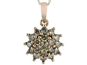 Champagne Diamond 10K Rose Gold Cluster Pendant 0.80ctw