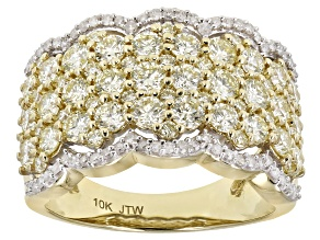 Natural Yellow And White Diamond 10K Yellow Gold Wide Band Ring 2.50ctw
