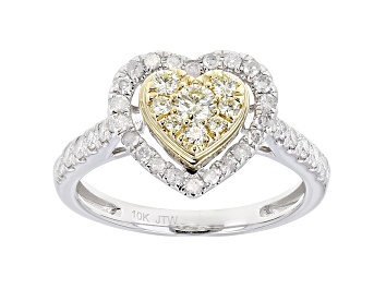 Picture of Natural Yellow And White Diamond 10K White Gold Heart Cluster Ring 0.75ctw
