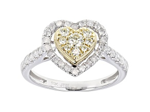 Natural Yellow And White Diamond 10K White Gold Heart Cluster Ring 0.75ctw