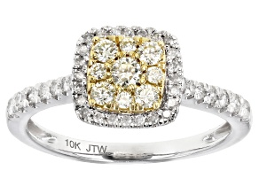 Natural Yellow And White Diamond 10K White Gold Cluster Ring 0.50ctw