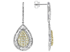 Natural Yellow And White Diamond 10K White Gold Dangle Earrings 1.50ctw