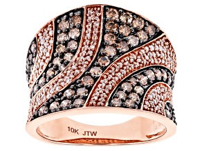 Champagne & White Diamond 10K Rose Gold Wide Band Ring 1.50ctw