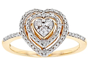 White Diamond 10K Yellow Gold Heart Cluster Ring 0.25ctw
