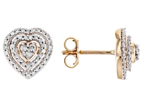 White Diamond 10K Yellow Gold Heart Cluster Earrings 0.30ctw