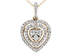 White Diamond 10K Yellow Gold Heart Cluster Pendant 0.25ctw