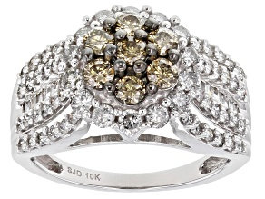 Champagne and White Diamond 10K White Gold Cluster Ring 1.60ctw