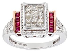 Burmese Ruby & White Diamond 10K White Gold Ring 1.00ctw