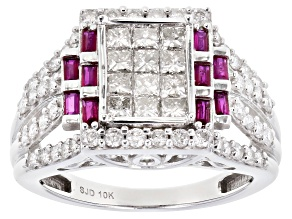 Burmese Ruby & White Diamond 10K White Gold Cluster Ring 1.85ctw