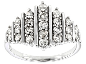 Diamond 10K White Gold Cluster Ring 1.00ctw