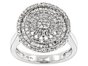 White Diamond 10K White Gold Cluster Ring 0.75ctw