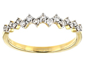 White Diamond 10K Yellow Gold Band Ring 0.25ctw