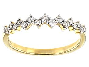 White Diamond 10K Yellow Gold Band Ring 0.25ctw