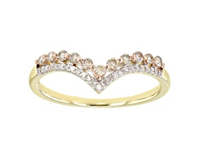 Champagne & White Diamond 10K Yellow Gold Band Ring 0.25ctw