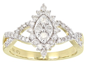 White Diamond 10K Yellow Gold Cluster Ring 0.50ctw